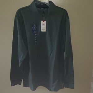 Izod Quarter Zip dress green sweatshirt XL